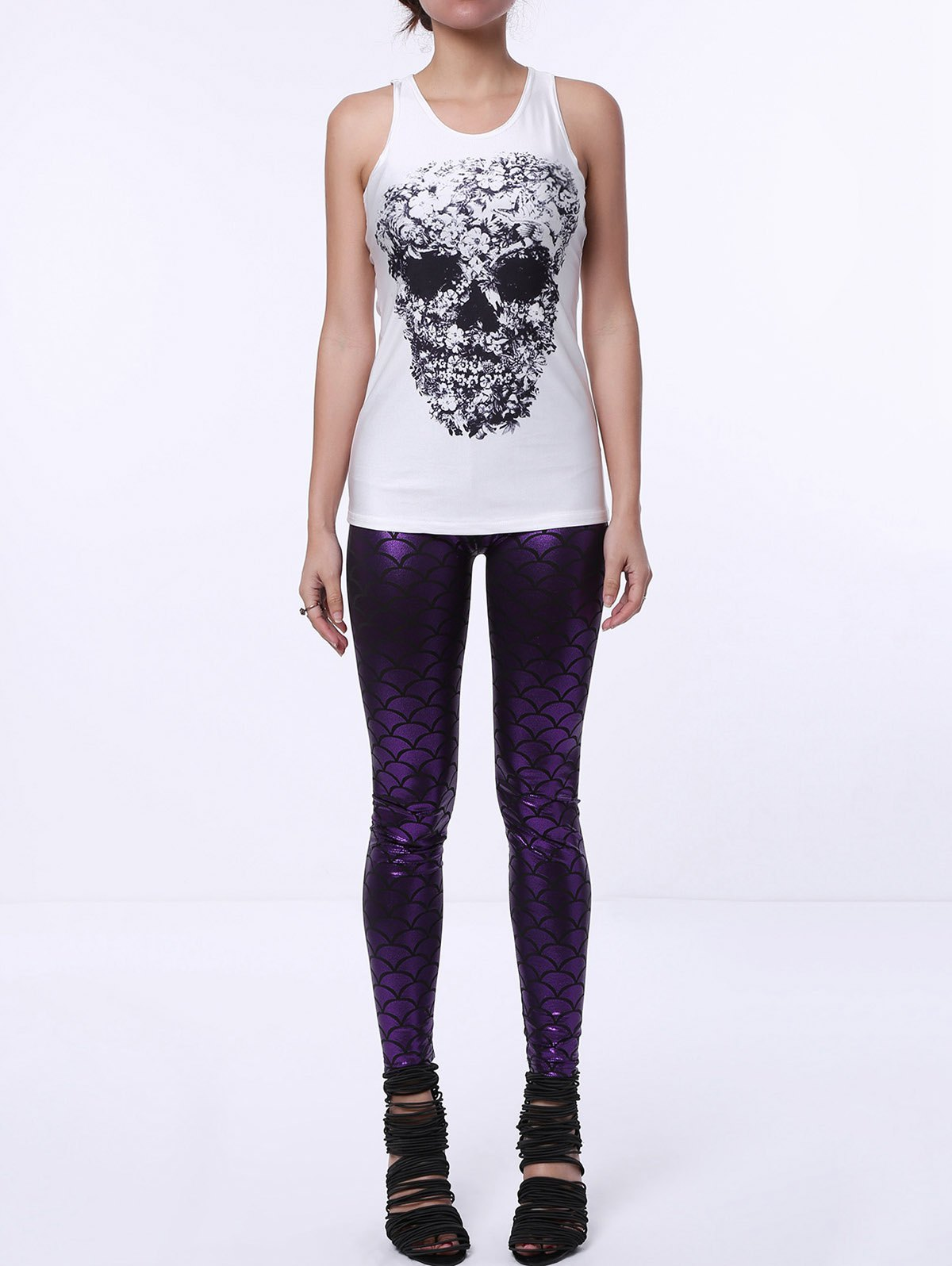 Simple Sleeveless Scoop Neck Skull Design Women's Tank Top - WHITE ONE SIZE(FIT SIZE XS TO M)