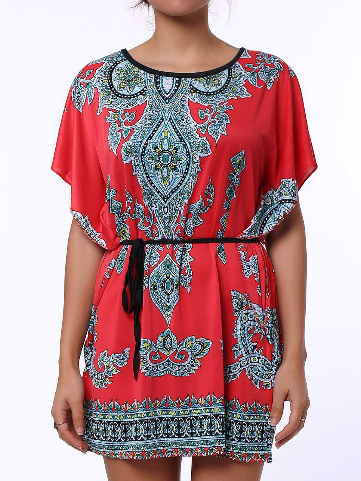 Scoop Neck Print Color Block Ethnic Style Short Sleeve T-Shirt For Women - RED L