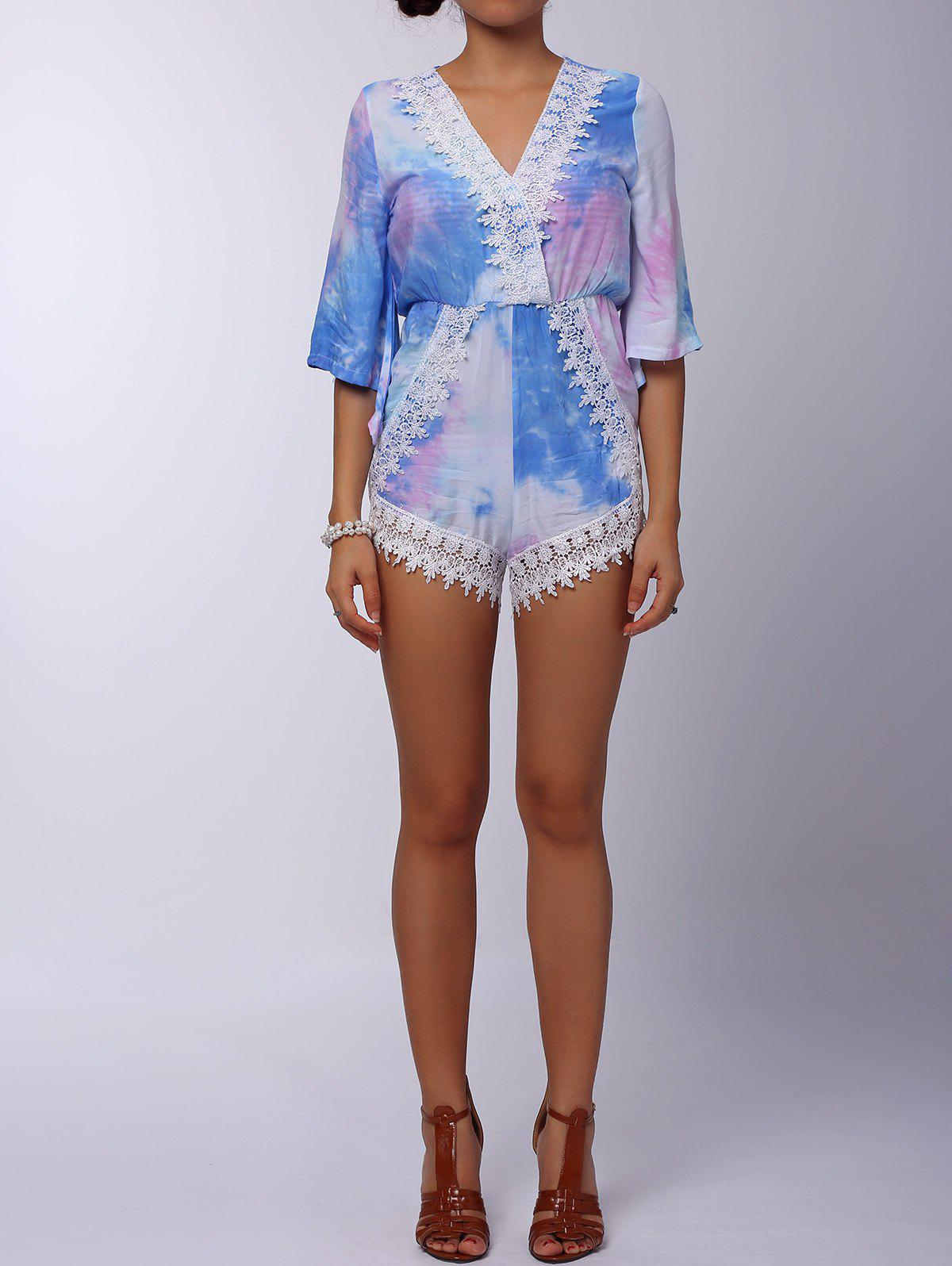 Stylish 3/4 Sleeve Plunging Neck Printed Lace Embellished Women's Romper - COLORFUL S