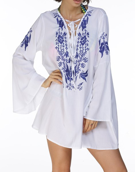 Chic Plunging Neck Bell Sleeve Lace-Up Flower Embroidery Women's Dress - WHITE ONE SIZE(FIT SIZE XS TO M)