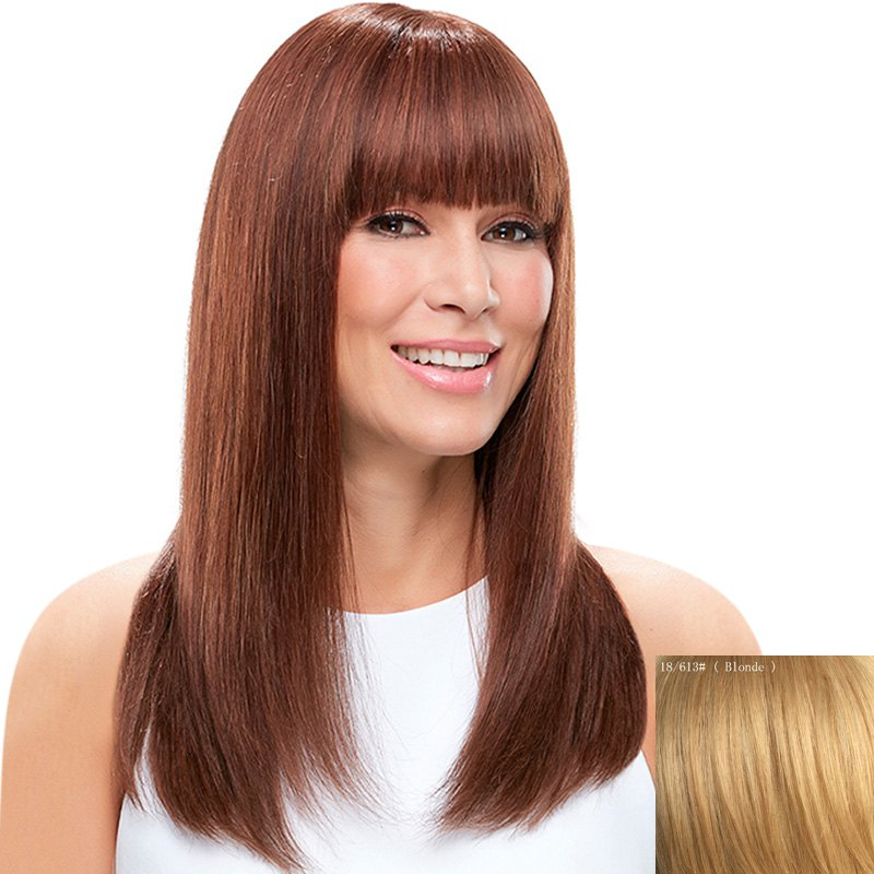 Vogue Long Charming Silky Straight Full Bang Capless Real Natural Hair Wig For Women - BLONDE