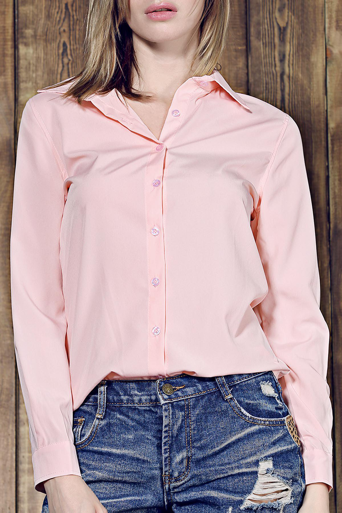 Simple Long Sleeve Shirt Collar Pure Color Women's Shirt - PINK S