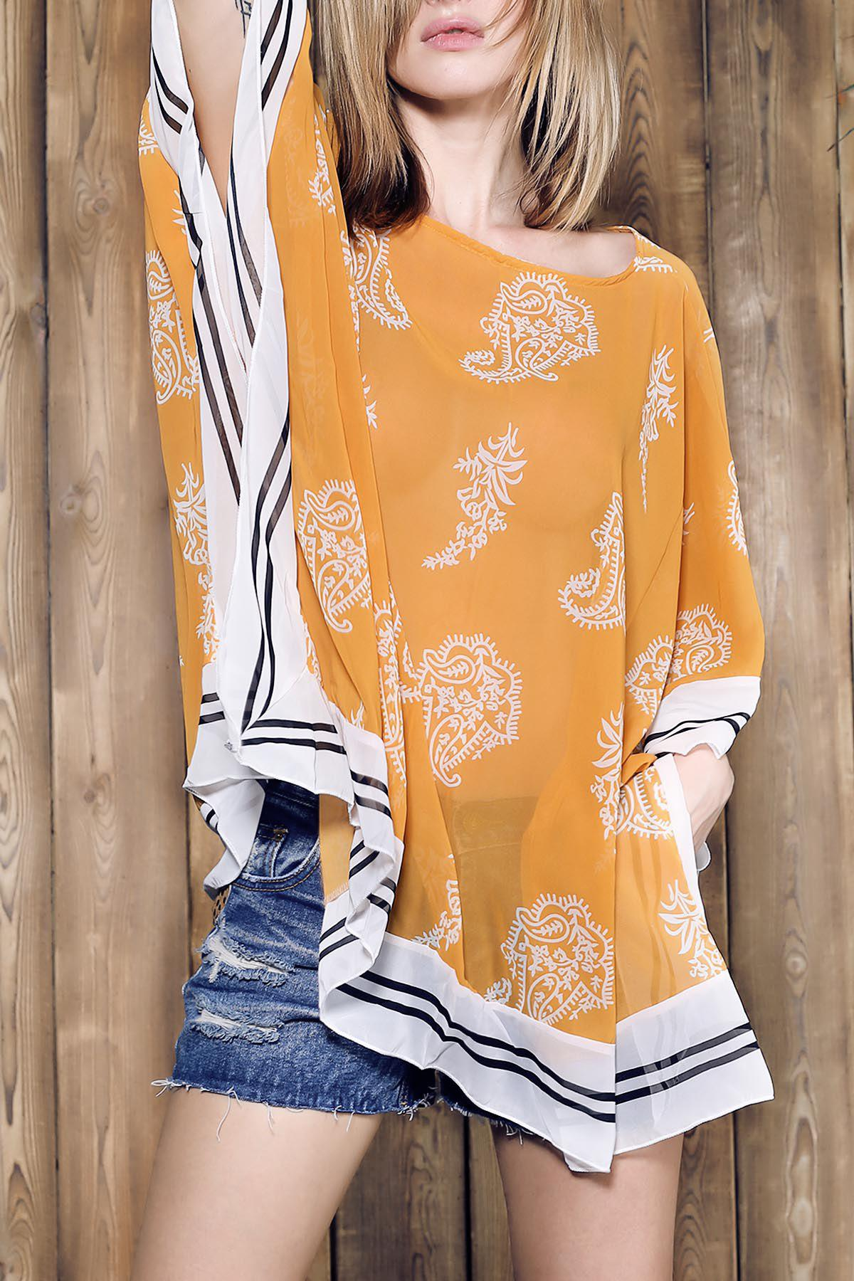 Stylish V-Neck 3/4 Sleeve Loose-Fitting Women's Chiffon Cover-Up - YELLOW ONE SIZE(FIT SIZE XS TO M)