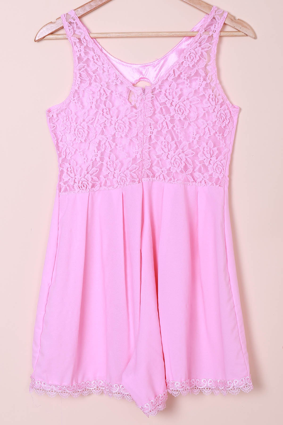 Sexy Scoop Collar Sleeveless Laciness Hollow Out Women's Romper - PINK XL