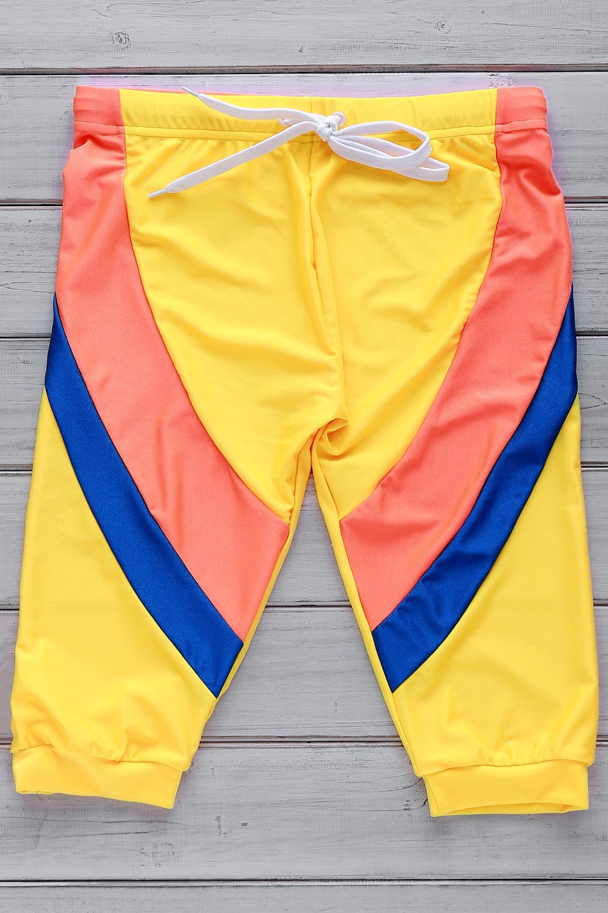 Lace Up Color Block Five Pants Men's Swimming Trunks - YELLOW M