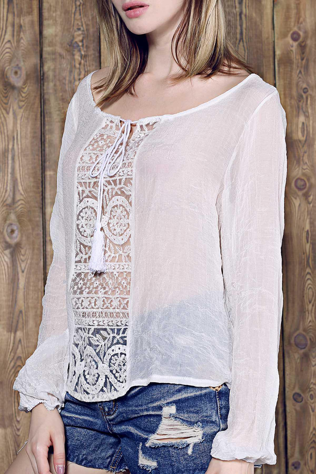 Graceful Skew Neck Long Sleeve Loose-Fitting White Lace Spliced Women's Blouse - S WHITE