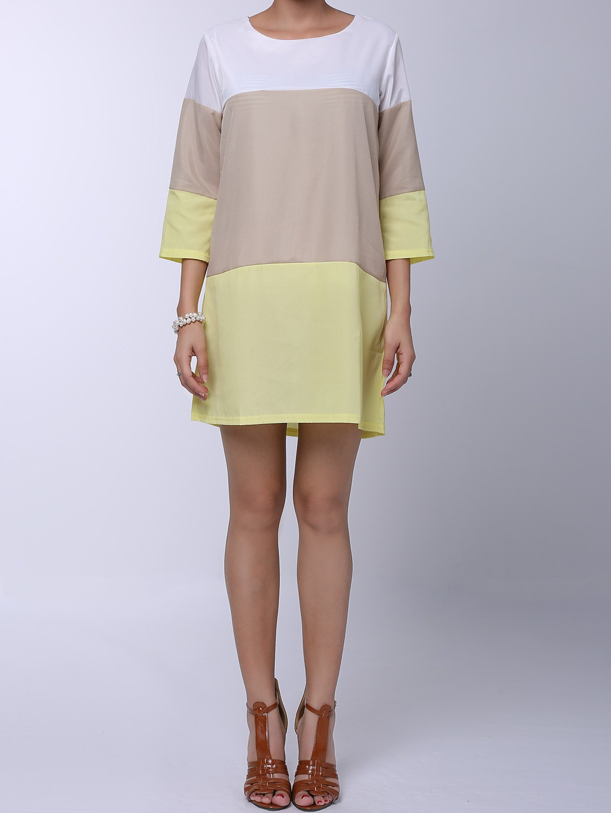 Round Neck 3/4 Sleeve Loose-Fitting Color Block Women's Dress - YELLOW S