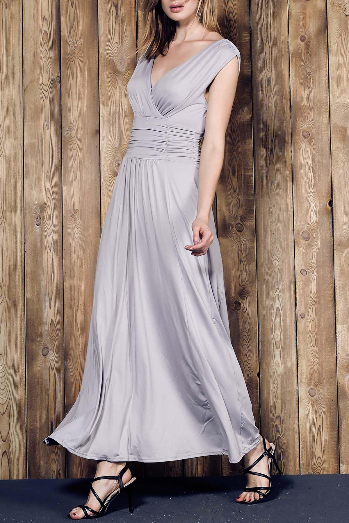 Graceful V Neck Sleeveless Ruched Maxi Gray Women's Dress - GRAY S