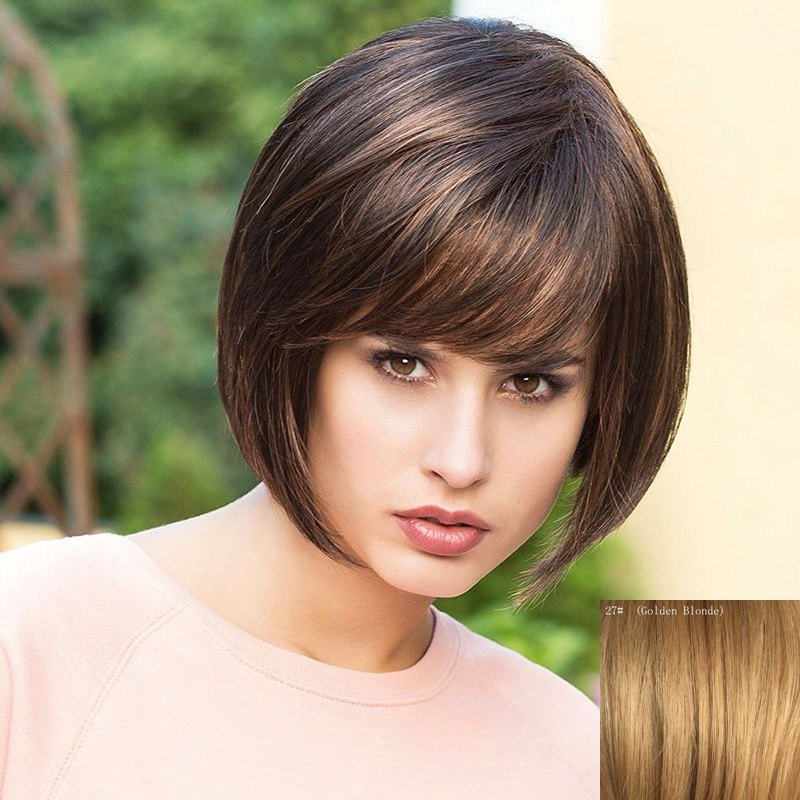 Fashion Straight Side Bang Bob Hairstyle Short Capless Real Human Hair Wig For Women - GOLDEN BLONDE