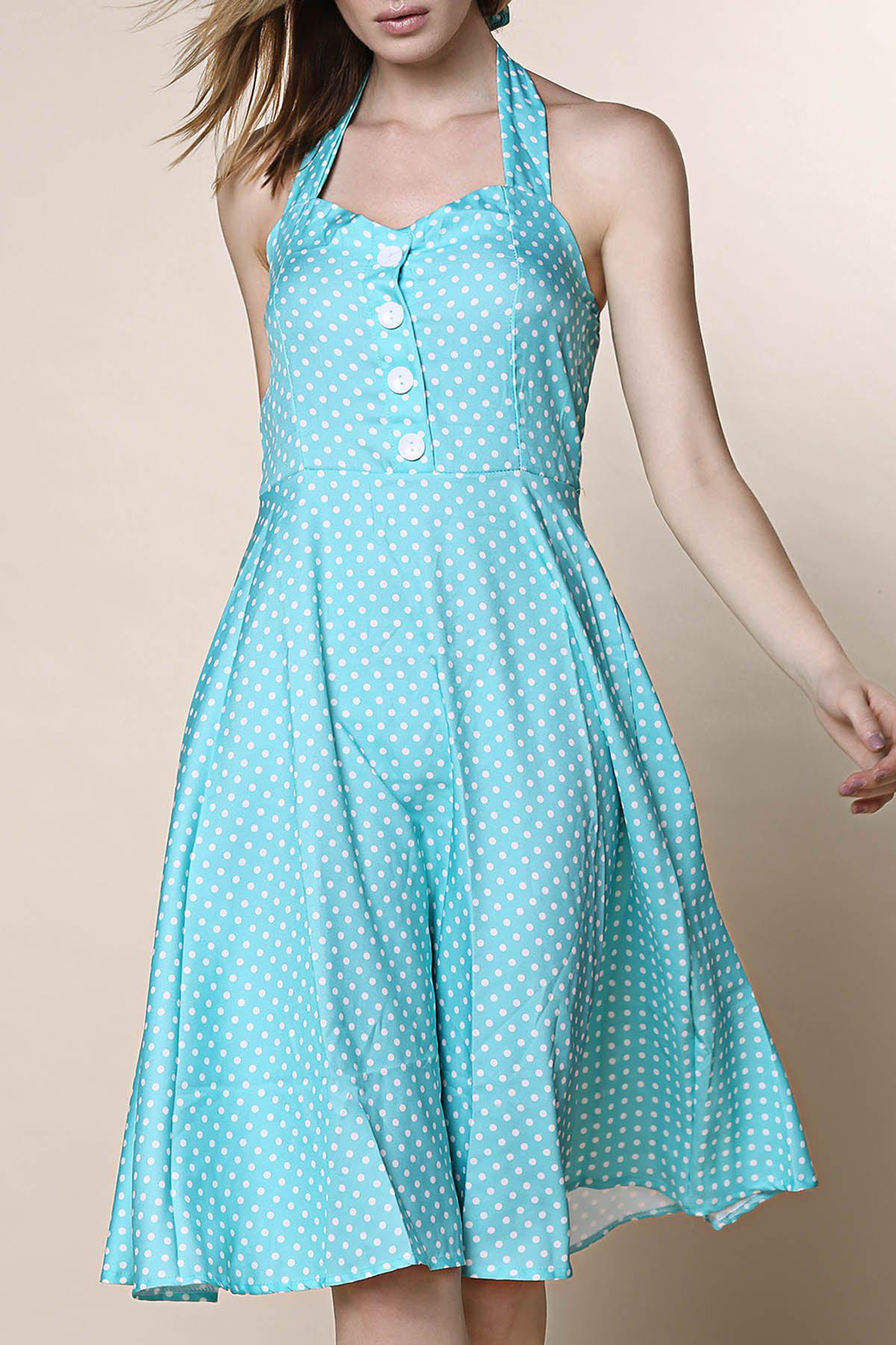 2018 Vintage Halter Polka Dot Print Pleated Ball Gown Dress For ...