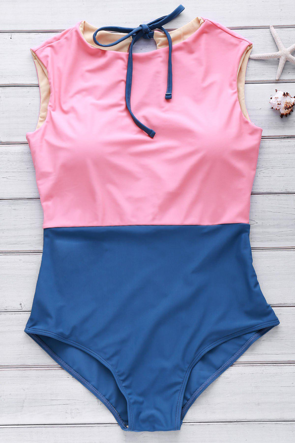 Hit Color Cute High Neck Swimsuit - WATERMELON RED M