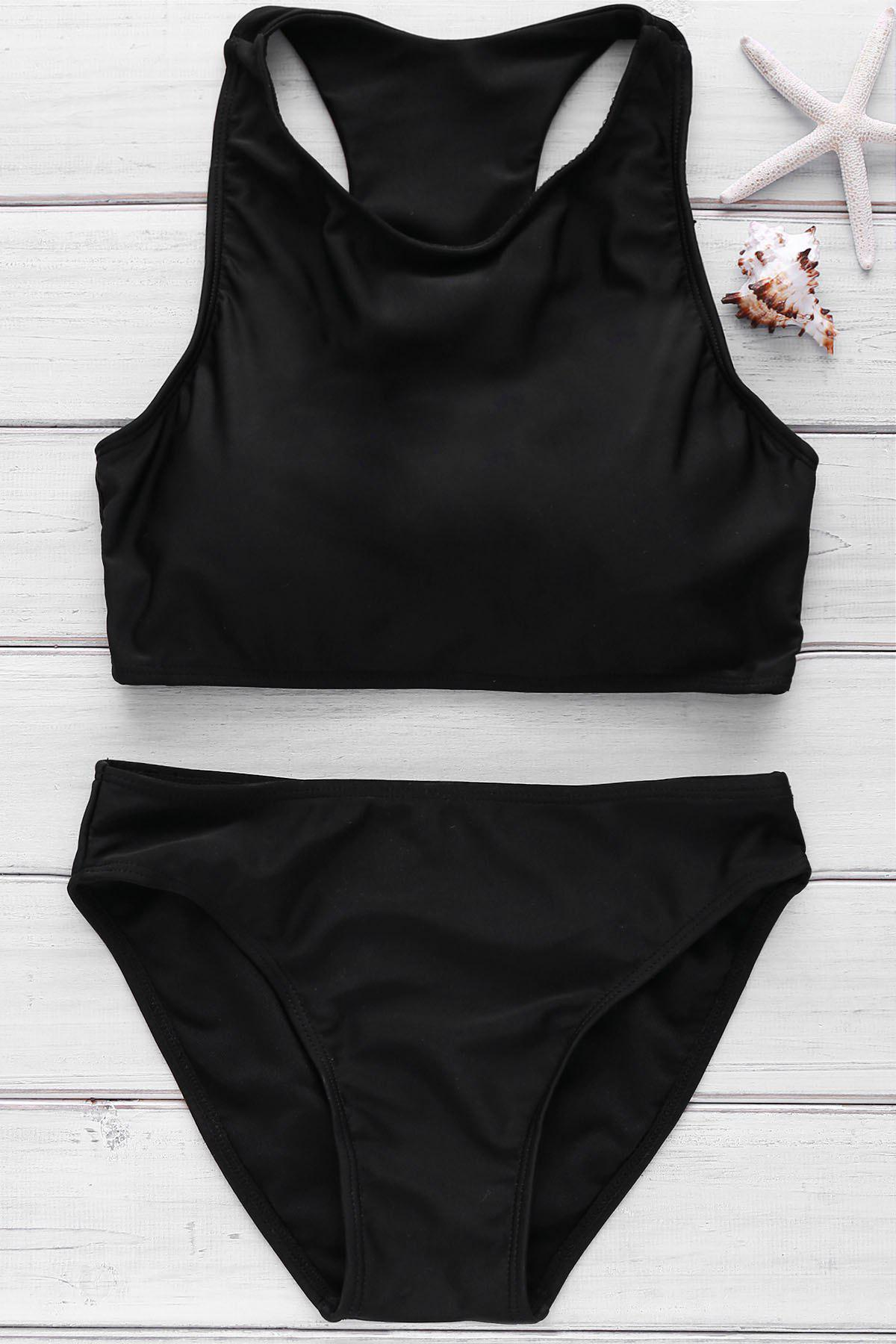 Trendy Solid Color High Neck Cut Out Bikini For Women - BLACK M