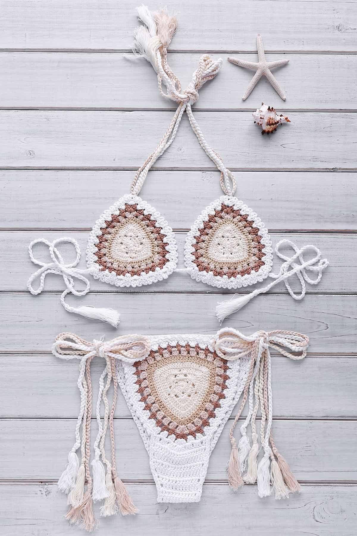 Ethnic Style Halter Neck Backless Colorful Crochet Women's Bikini Set - OFF WHITE ONE SIZE(FIT SIZE XS TO M)