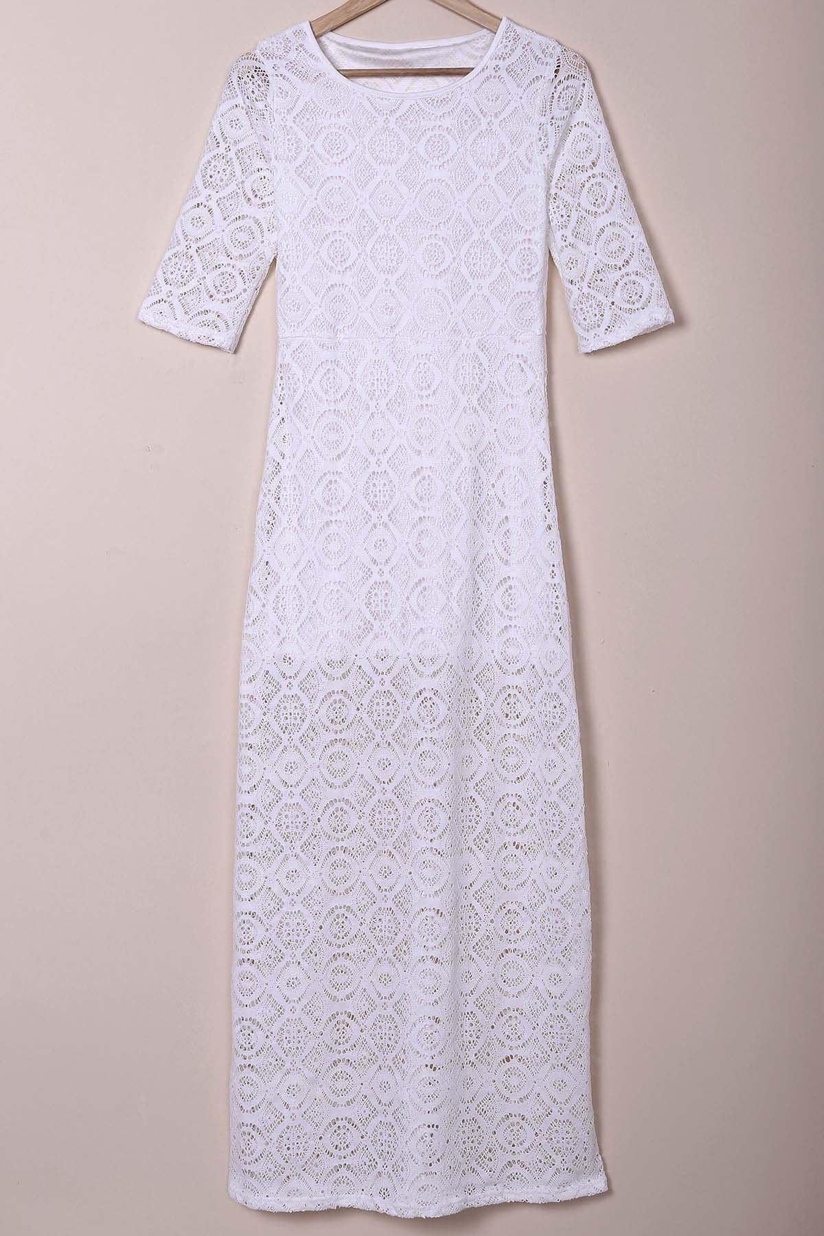 Simple 3/4 Sleeve Round Collar Solid Color Women's Maxi Dress - WHITE S