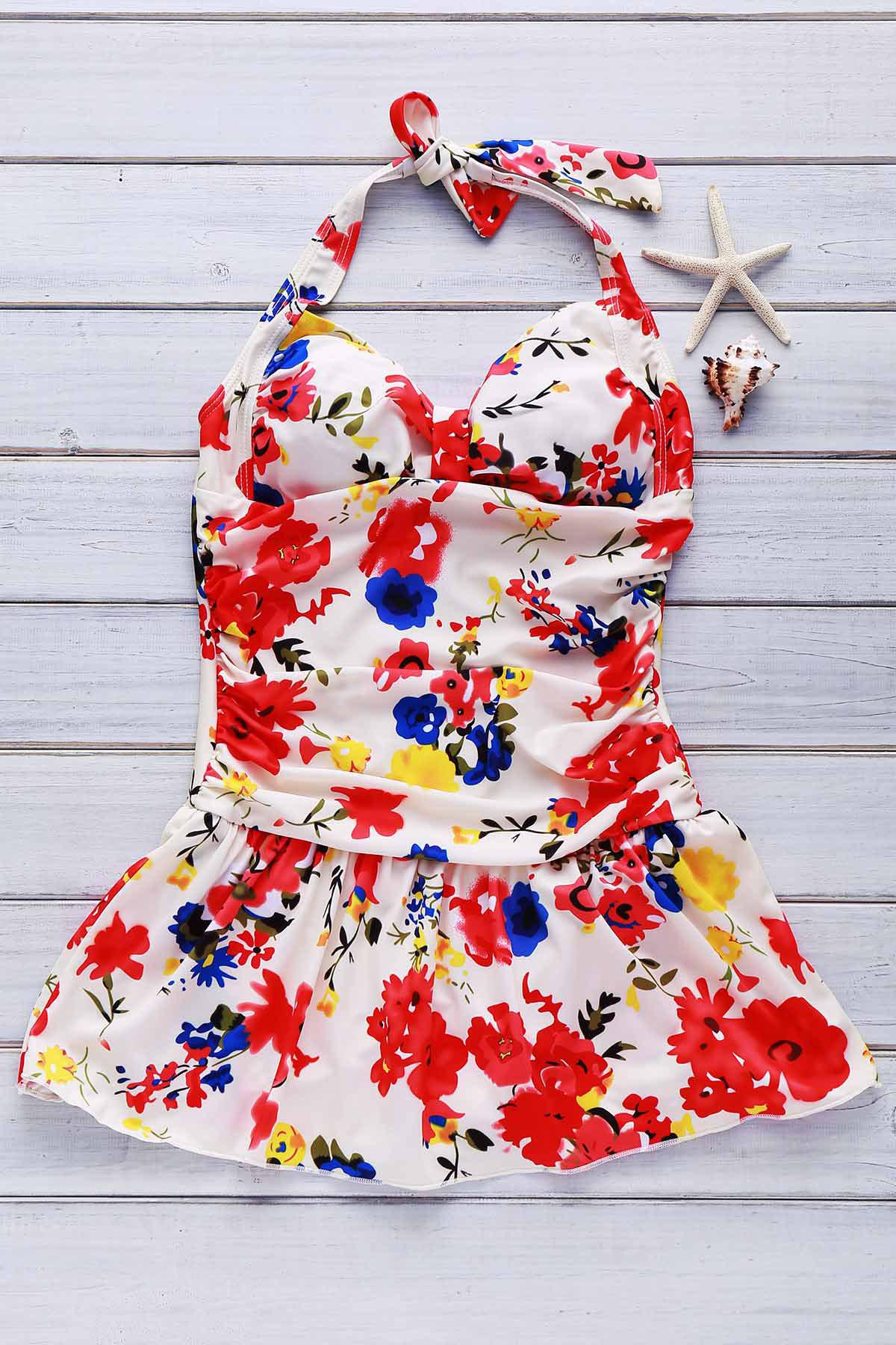Cute Floral Print Halter One-Piece Swimsuit For Women - FLORAL M