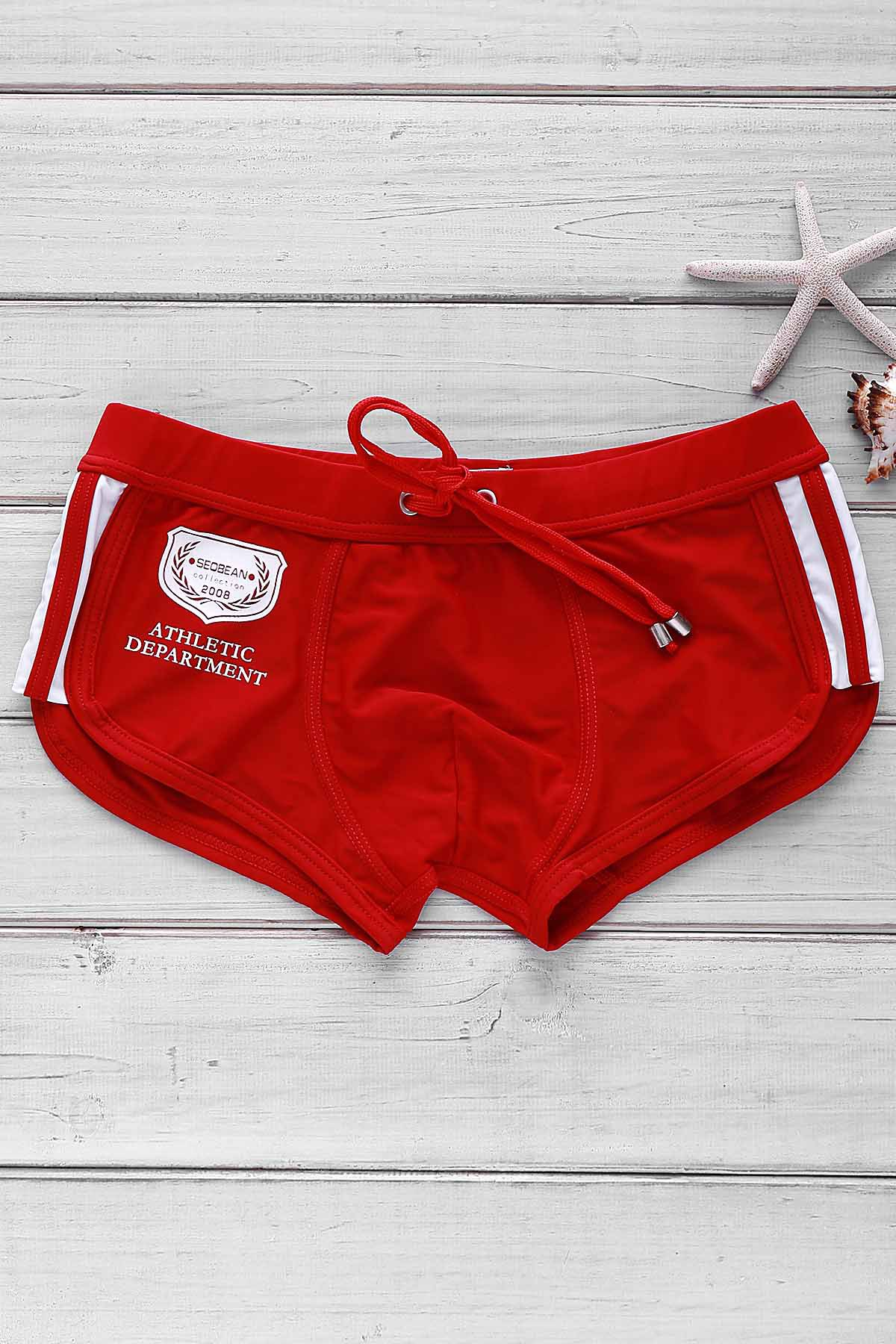 Color Block Logo Pattern Design Lace-Up Men's Boxer Swimming Trunks - RED XL