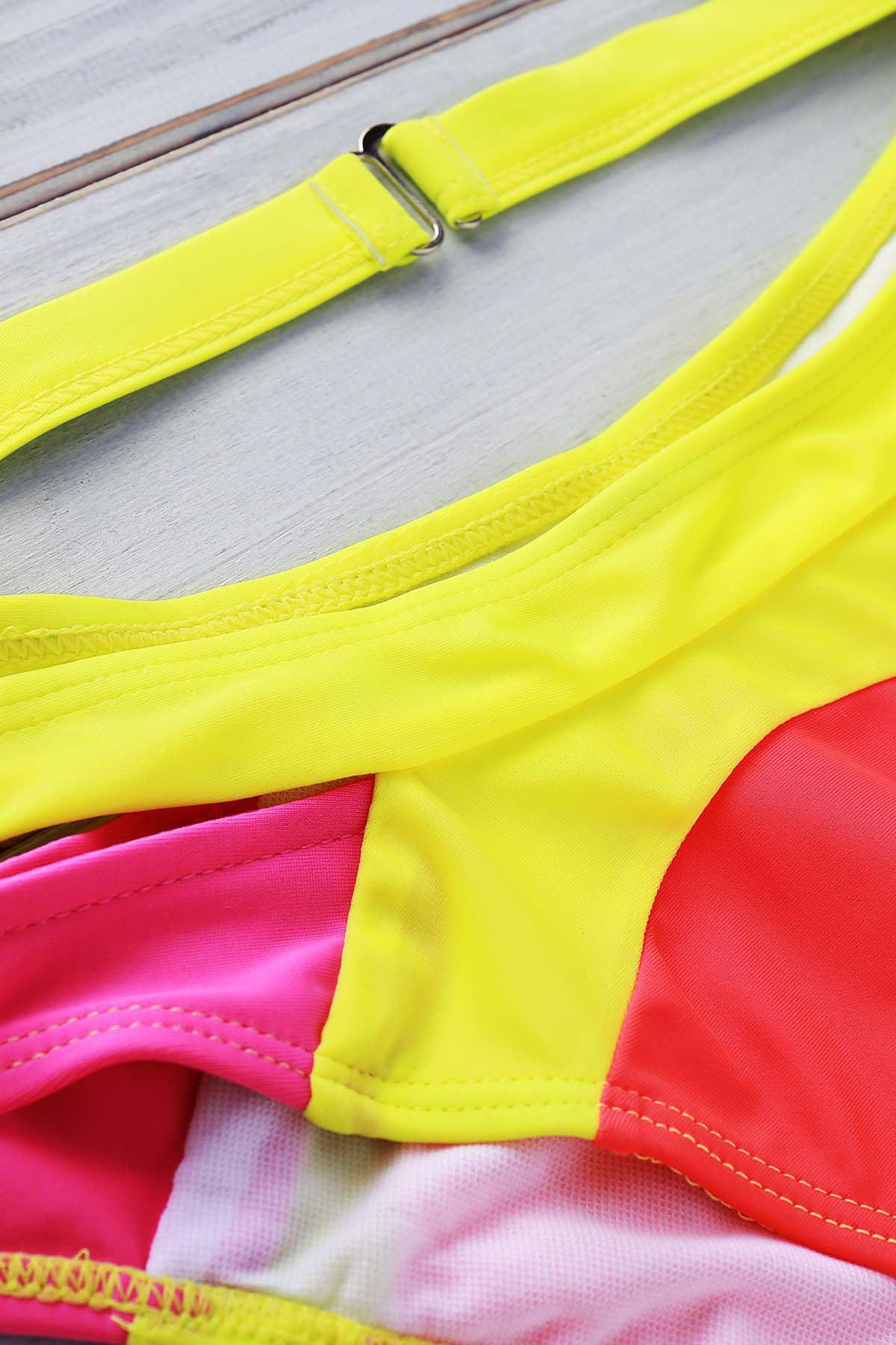 Sexy Wide Strap V-Neck Color Block Backless Hollow Out Design Swimwear - ORANGE S