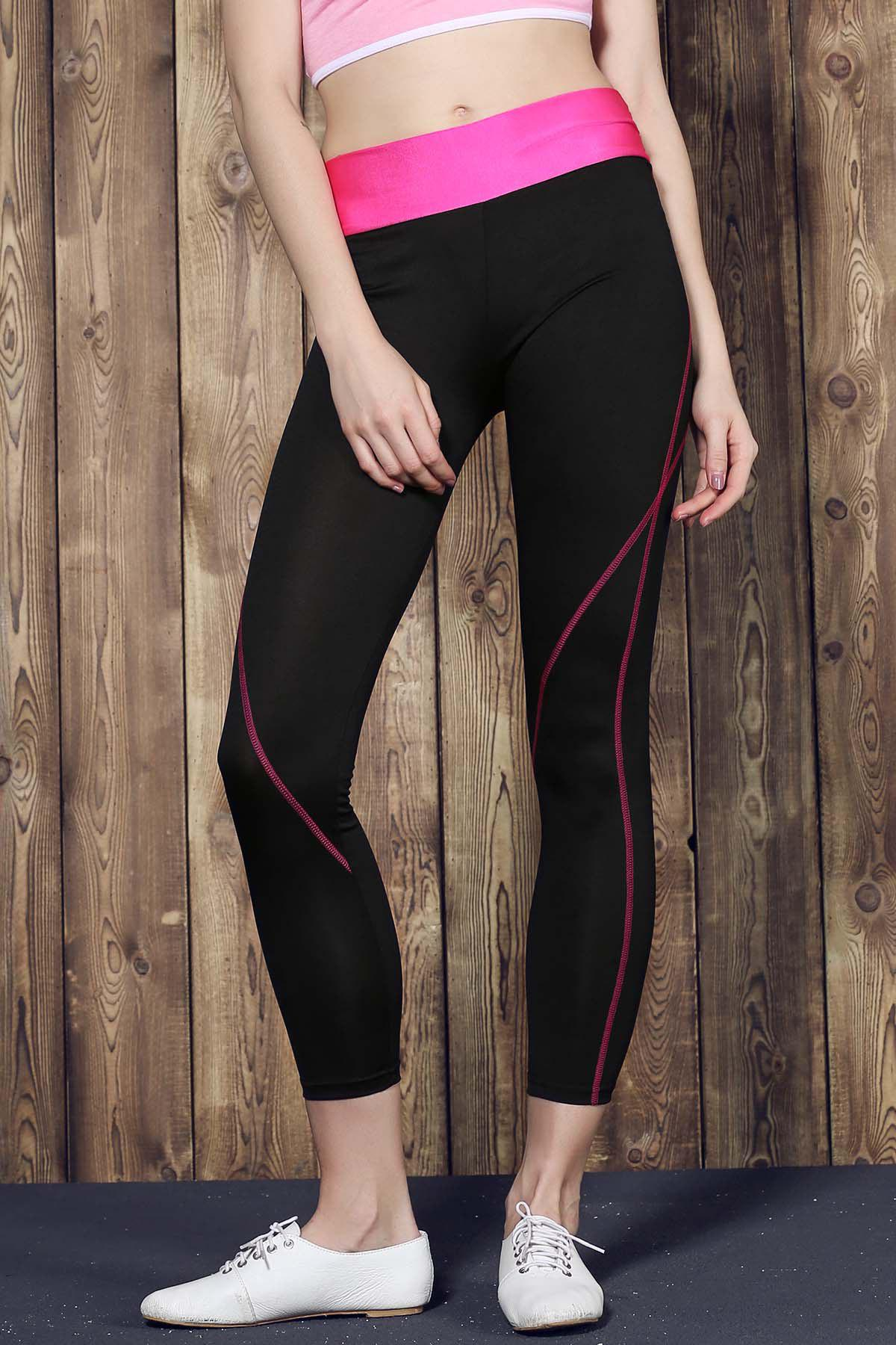 Active Style Elastic Waist Color Splicing Stretchy Women's Yoga Pants - ROSE M