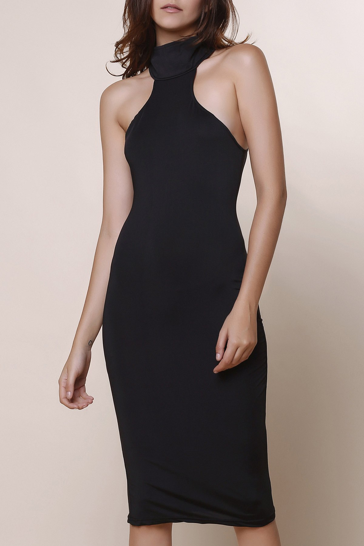 Elegant Turtle Neck Solid Color Hollow Out Sleeveless Women's Bodycon Dress - BLACK ONE SIZE(FIT SIZE XS TO M)