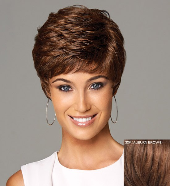 Shaggy Natural Wave Capless Spiffy Ultrashort Full Bang Real Human Hair Wig For Women - AUBURN BROWN