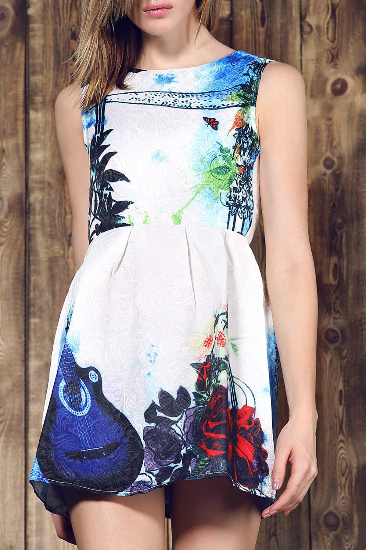 Vintage Violin Print Round Collar Sleeveless Dress For Women