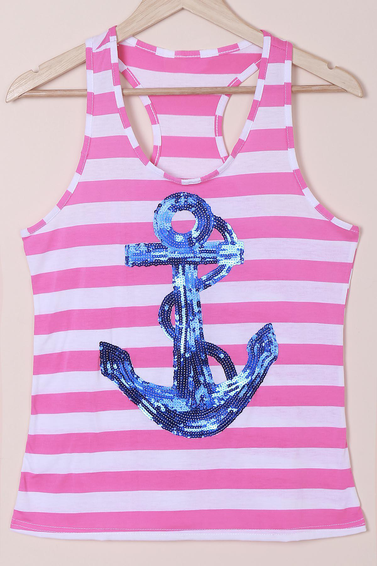 Casual Women's Scoop Neck Striped Sequined Anchor Tank Top - BLUE XL