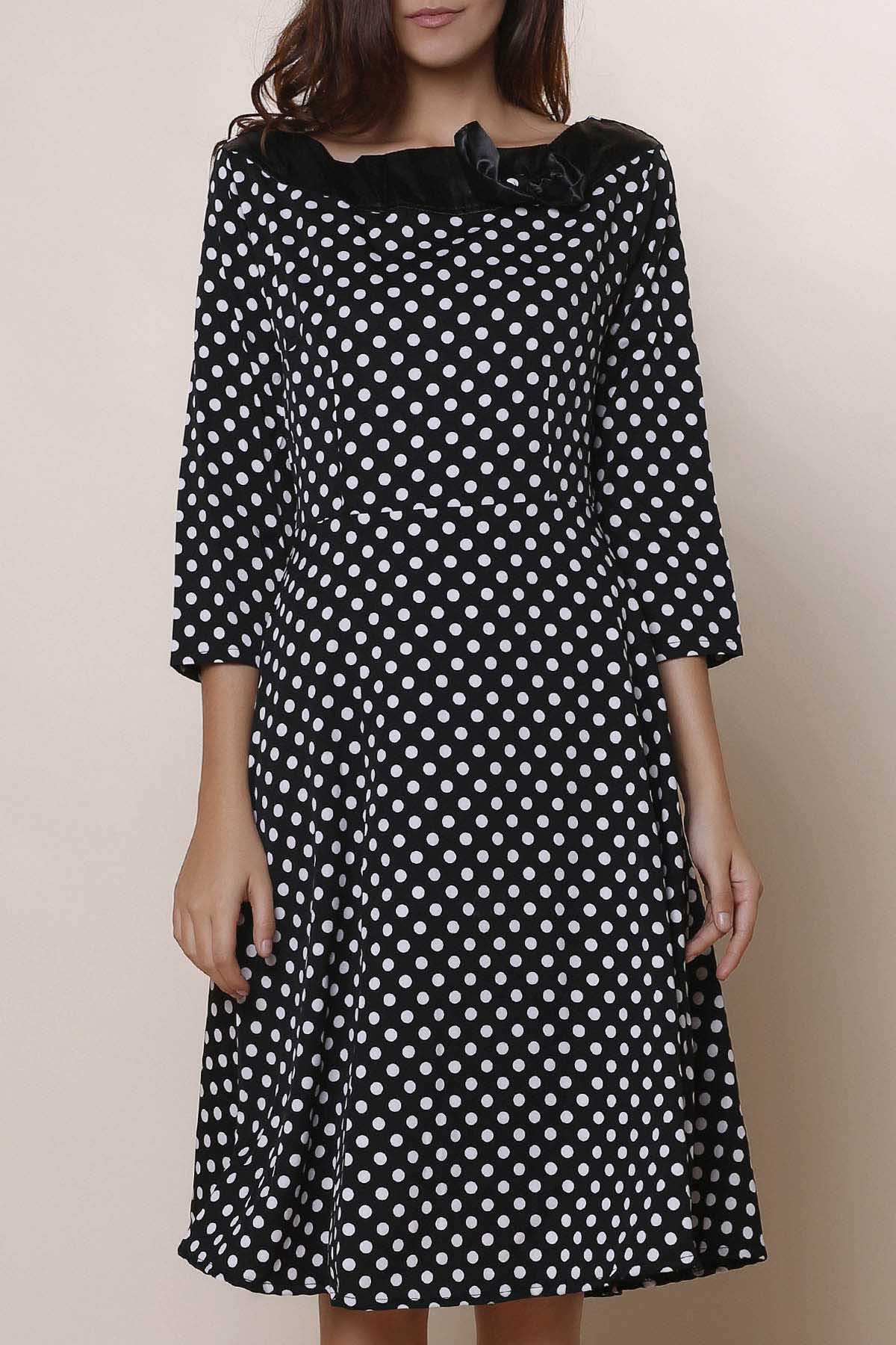 Vintage Polka Dot Print Slash Neck Bowknot Design 3/4 Sleeve Dress For Women - BLACK XL