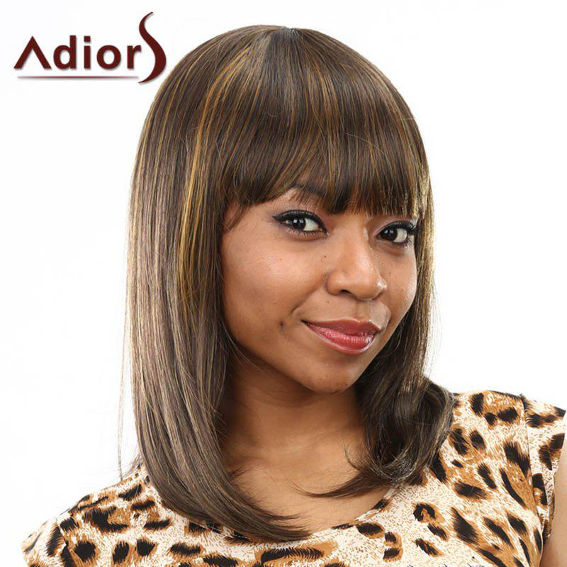 Shaggy Long Natural Straight Capless High Temperature Fiber Full Bang Mixed Color Wig For Women - COLORMIX