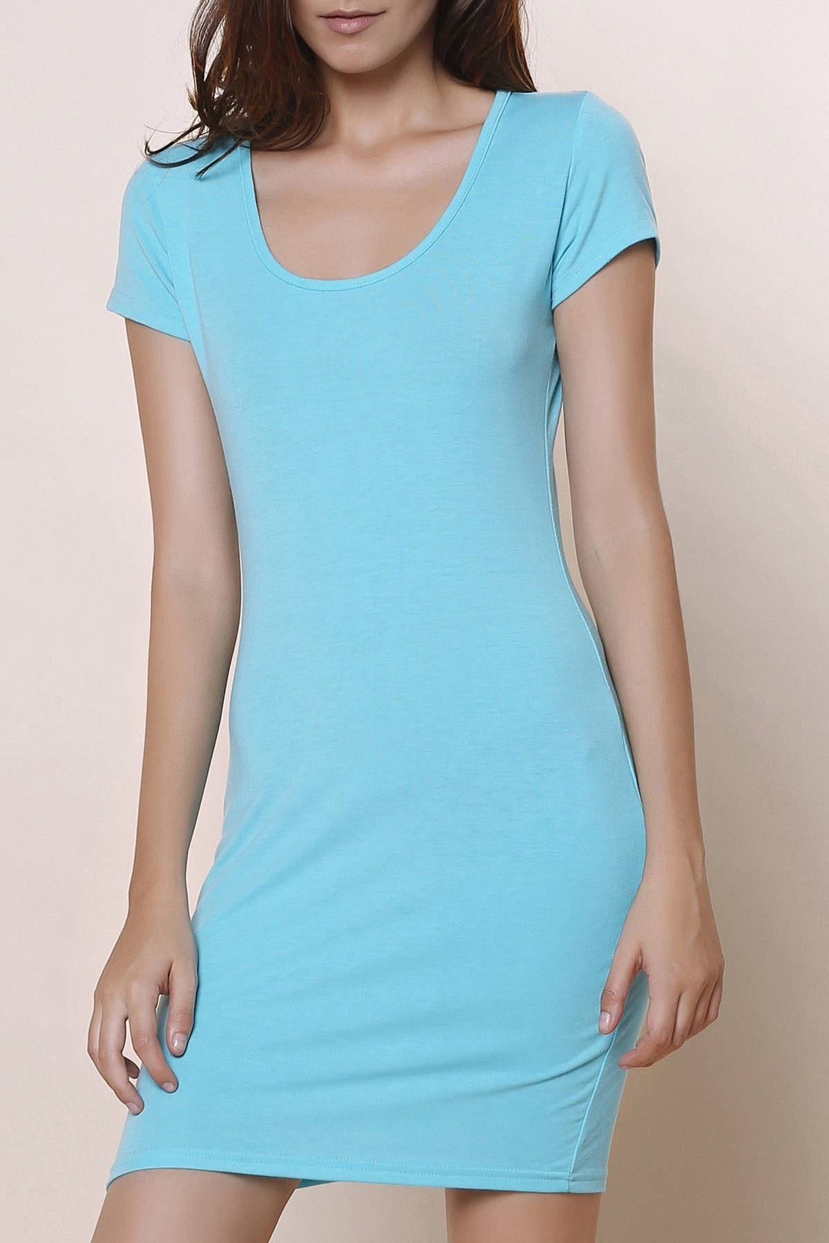 Stylish Solid Color Short Sleeve U-Neck Women's Bodycon Dress - BLUE S