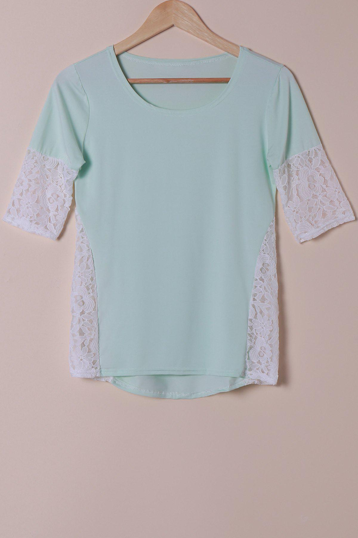 Stylish Scoop Neck Lace Spliced Half Sleeve Womens T-ShirtWomen<br><br><br>Size: S<br>Color: LIGHT BLUE