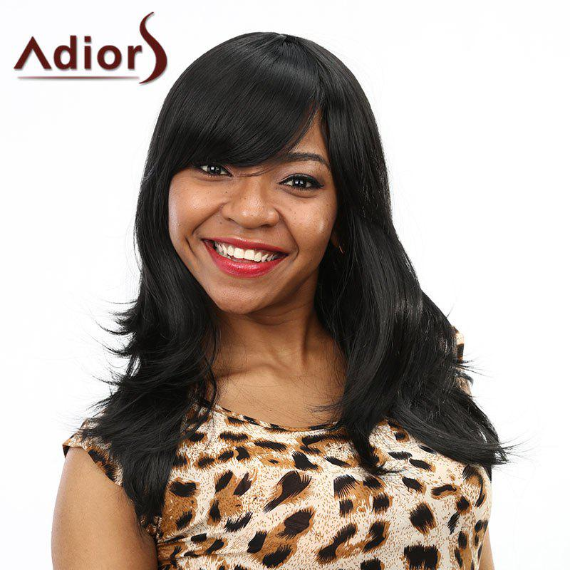 Towheaded Natural Black Long Nobby Wavy Side Bang Capless Synthetic Wig For Women - BLACK