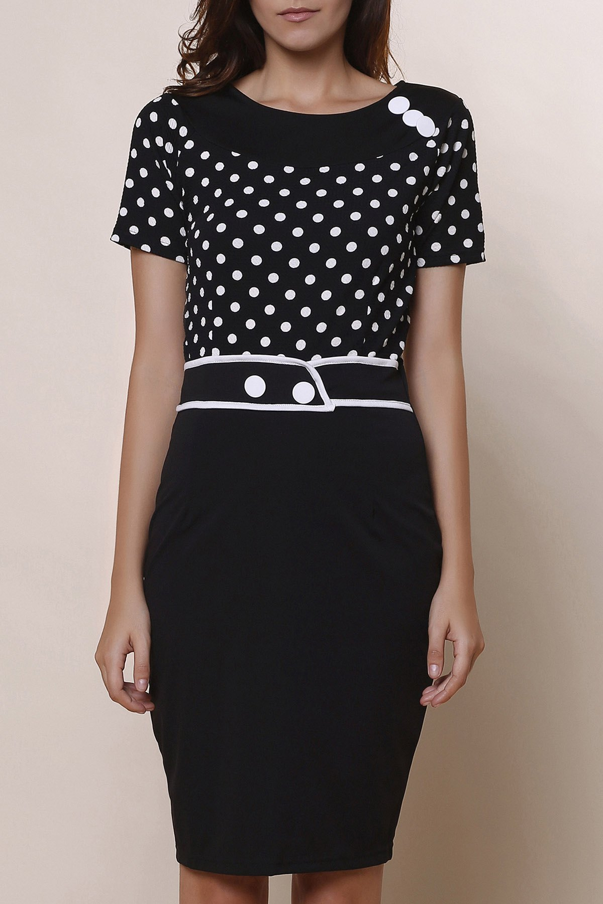 Stylish Scoop Neck Short Sleeve Slimming Polka Dot Women's Dress - BLACK S