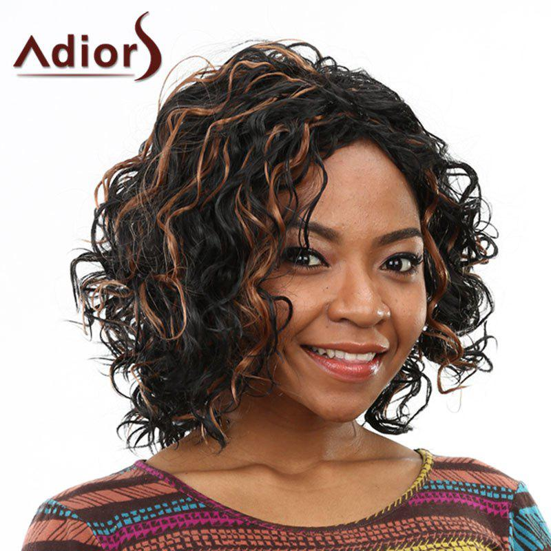 Brown Highlight Sophisticated Medium Capless Fluffy Curly Heat Resistant Synthetic Women's Wig - COLORMIX