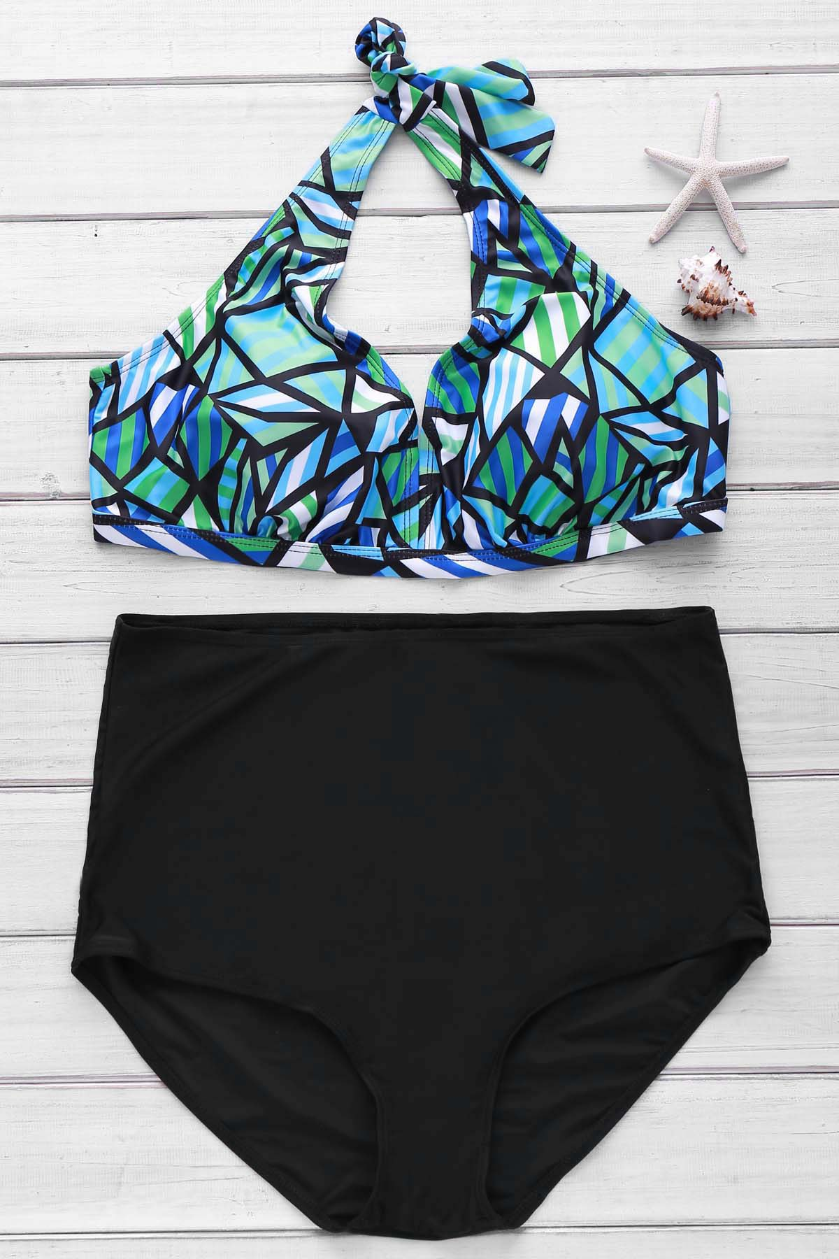 Sexy Halter Sleeveless Printed Women's High Waist Bikini Set - COLORMIX 2XL