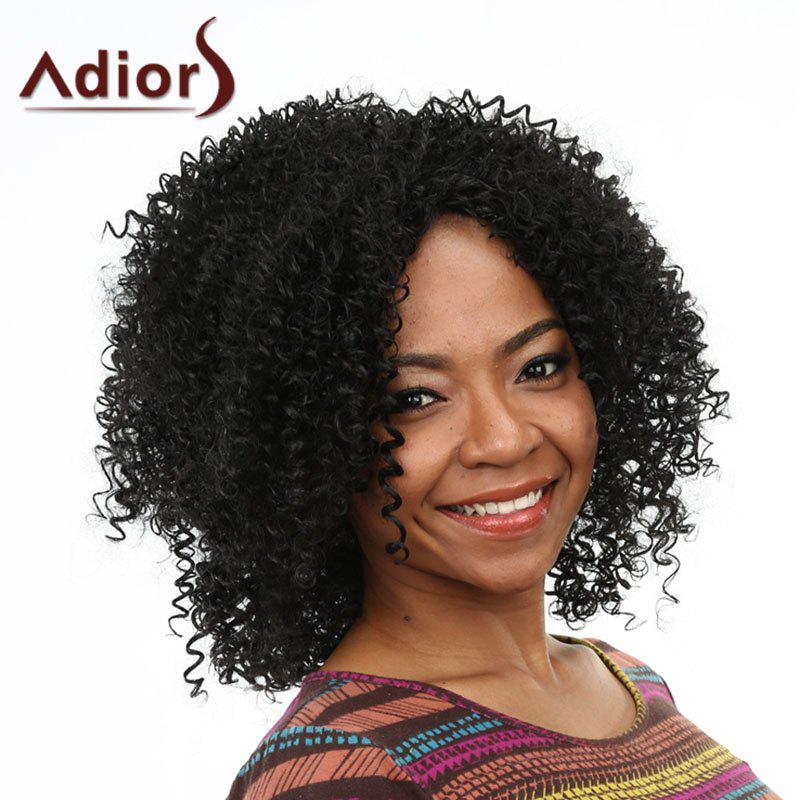 Fluffy Afro Curly Attractive Long Capless Stylish Natural Black Heat Resistant Fiber Women's Wig - BLACK