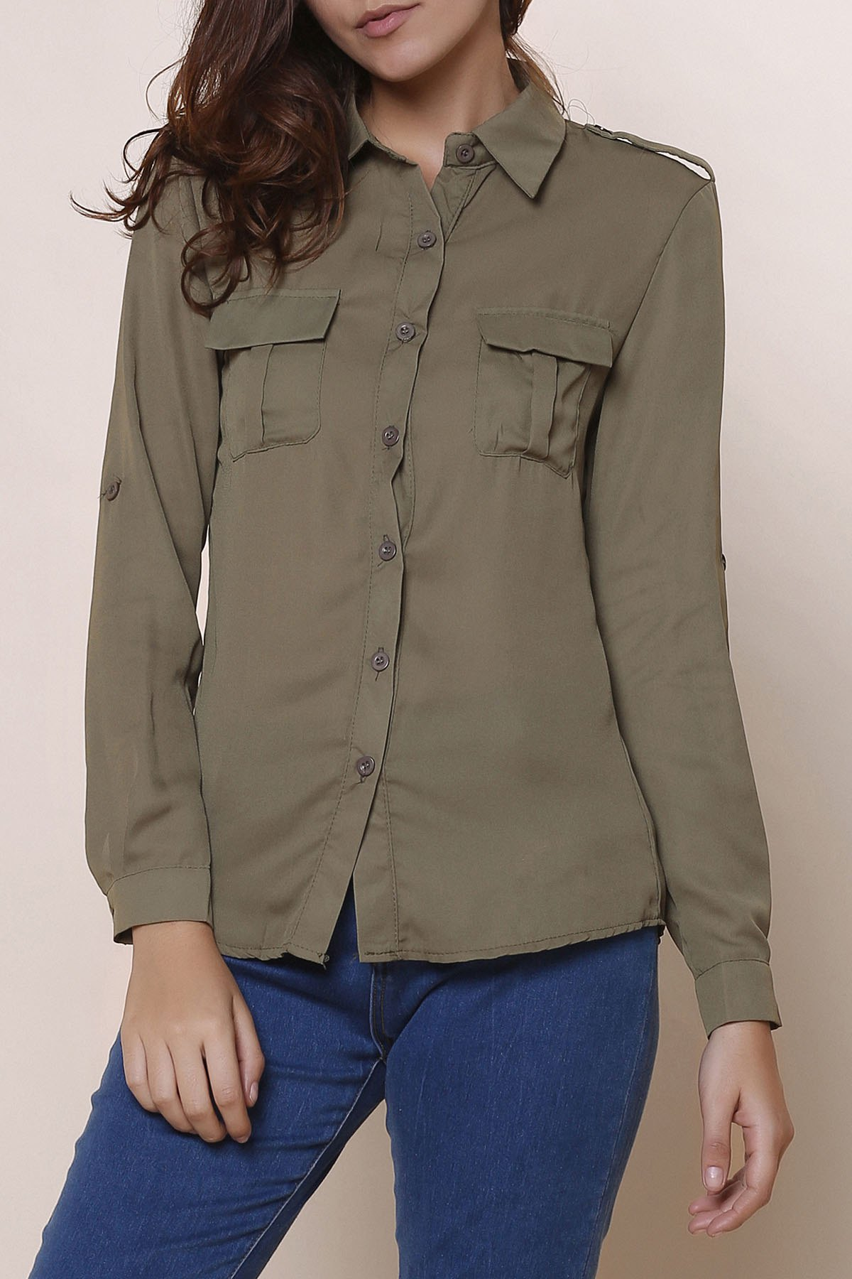Simple Solid Color Shirt Collar Long Sleeve Blouse For Women - ARMY GREEN L
