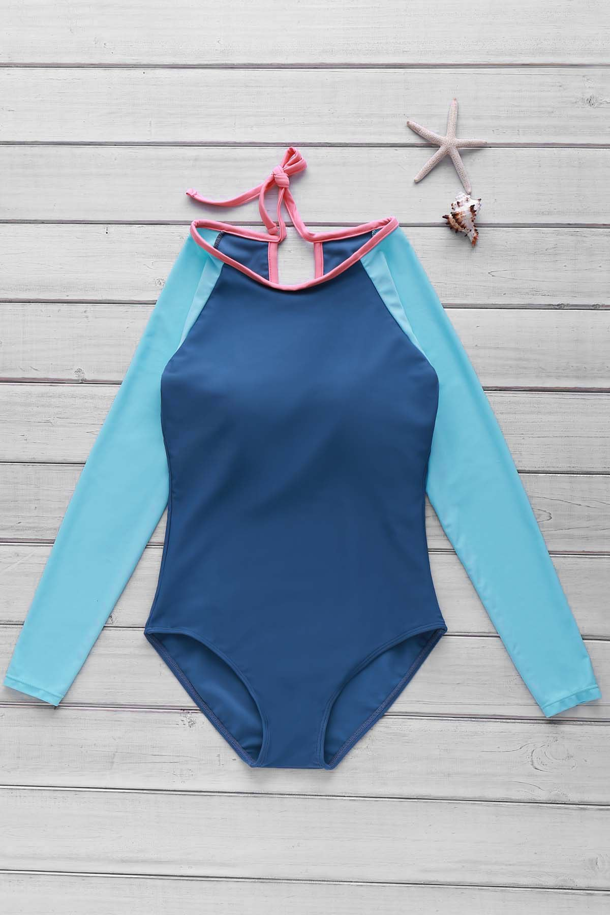 Stylish Scoop Neck Long Sleeve Women's Hollow Out One-Piece Swimsuit - LAKE BLUE M