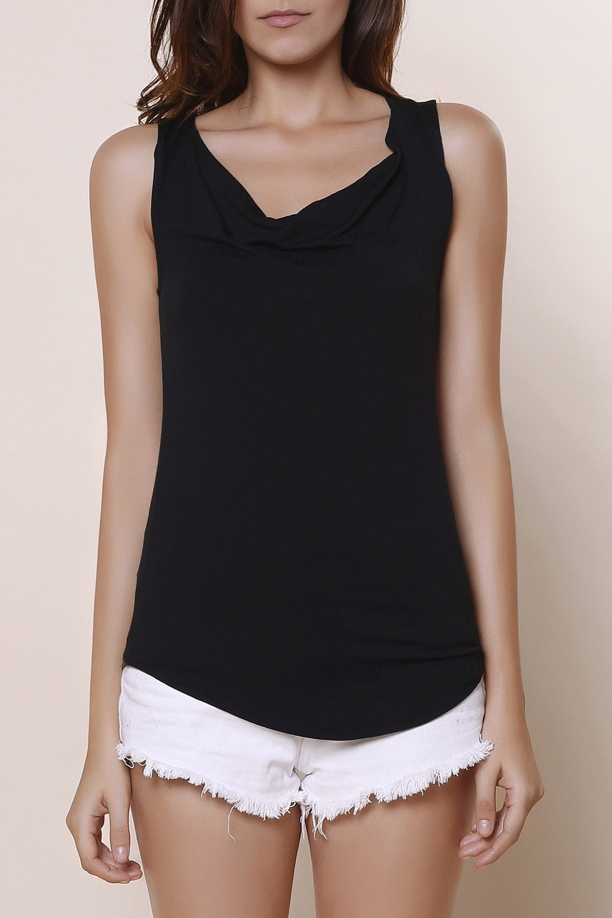 Brief Black Cowl Neck Sleeveless T-Shirt For Women - BLACK S