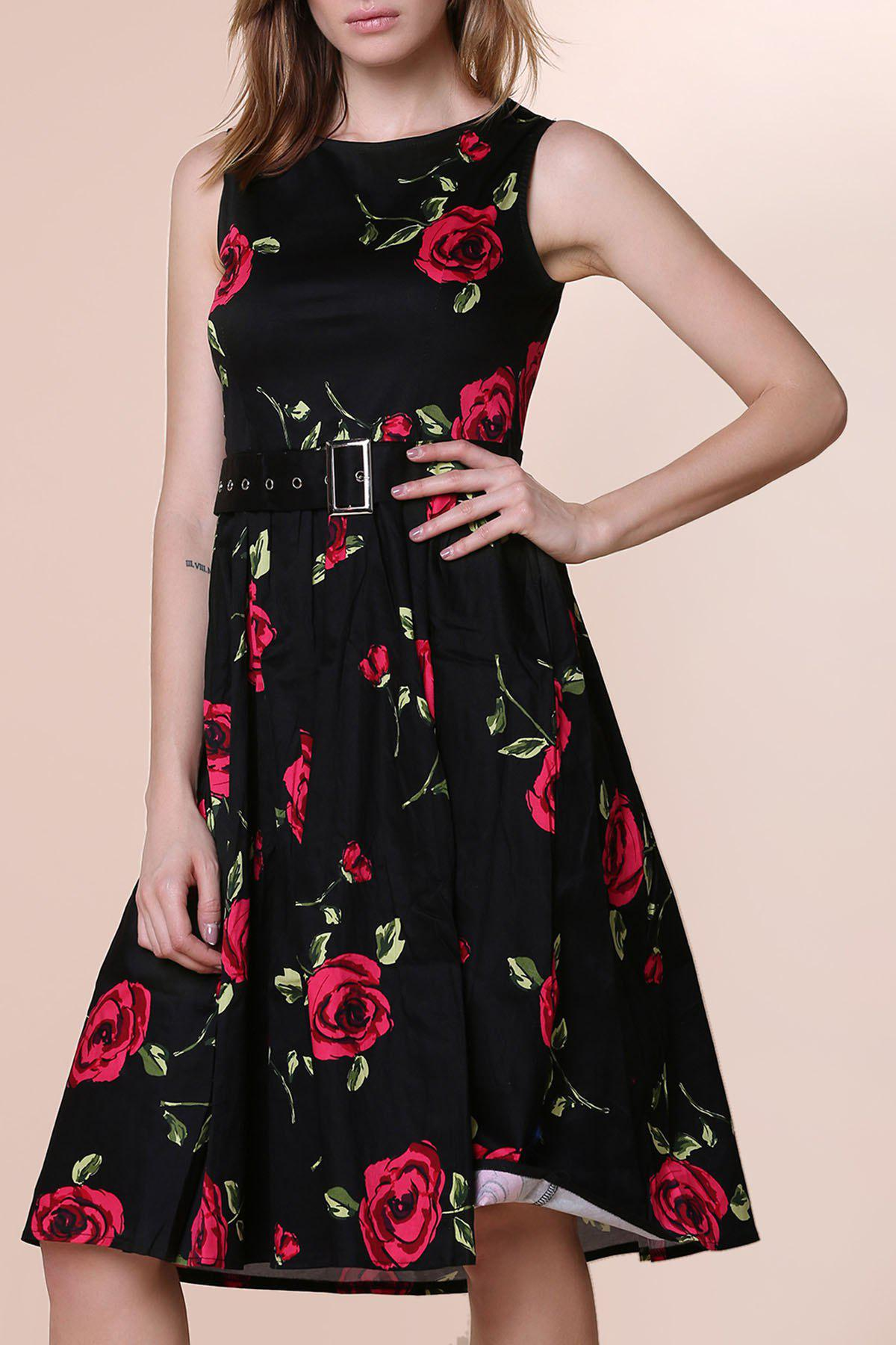 Retro Style Sleeveless Round Neck Roses Print Women's Ball Gown Dress - RED M