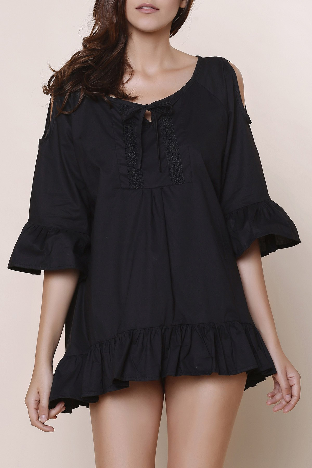 Sweet Solid Color Scoop Neck Ruffles 3/4 Sleeve Blouse For Women - BLACK 4XL
