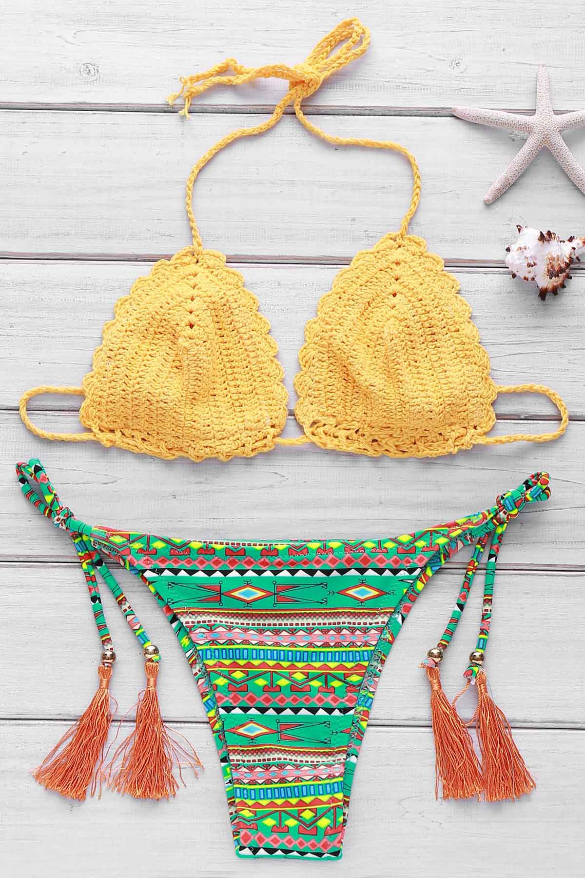 Sweet Colorful Geometric Print Crochet Halter Bikini For Women