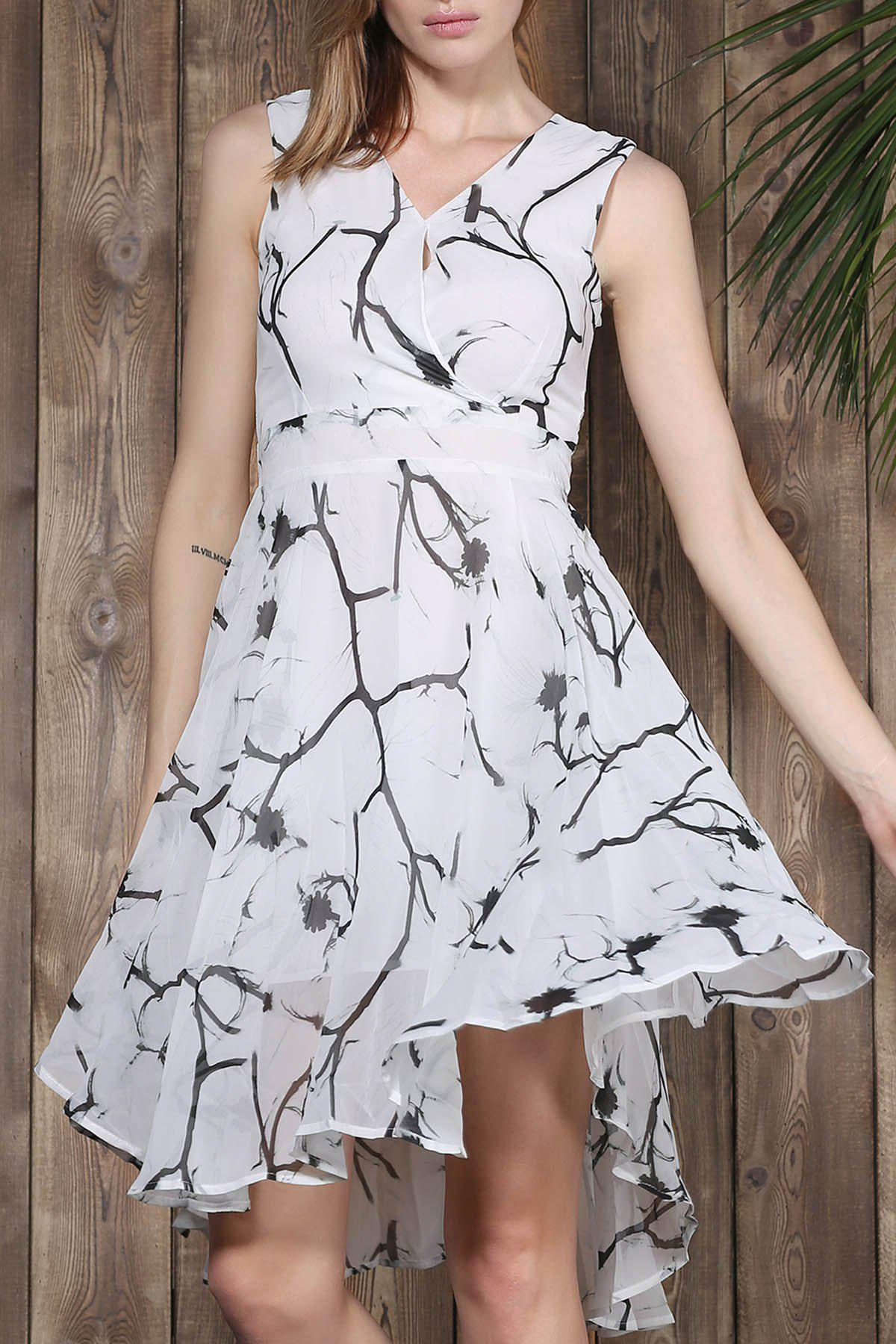 Trendy V-Neck Sleeveless Printed Women's Chiffon Dress - COLORMIX S