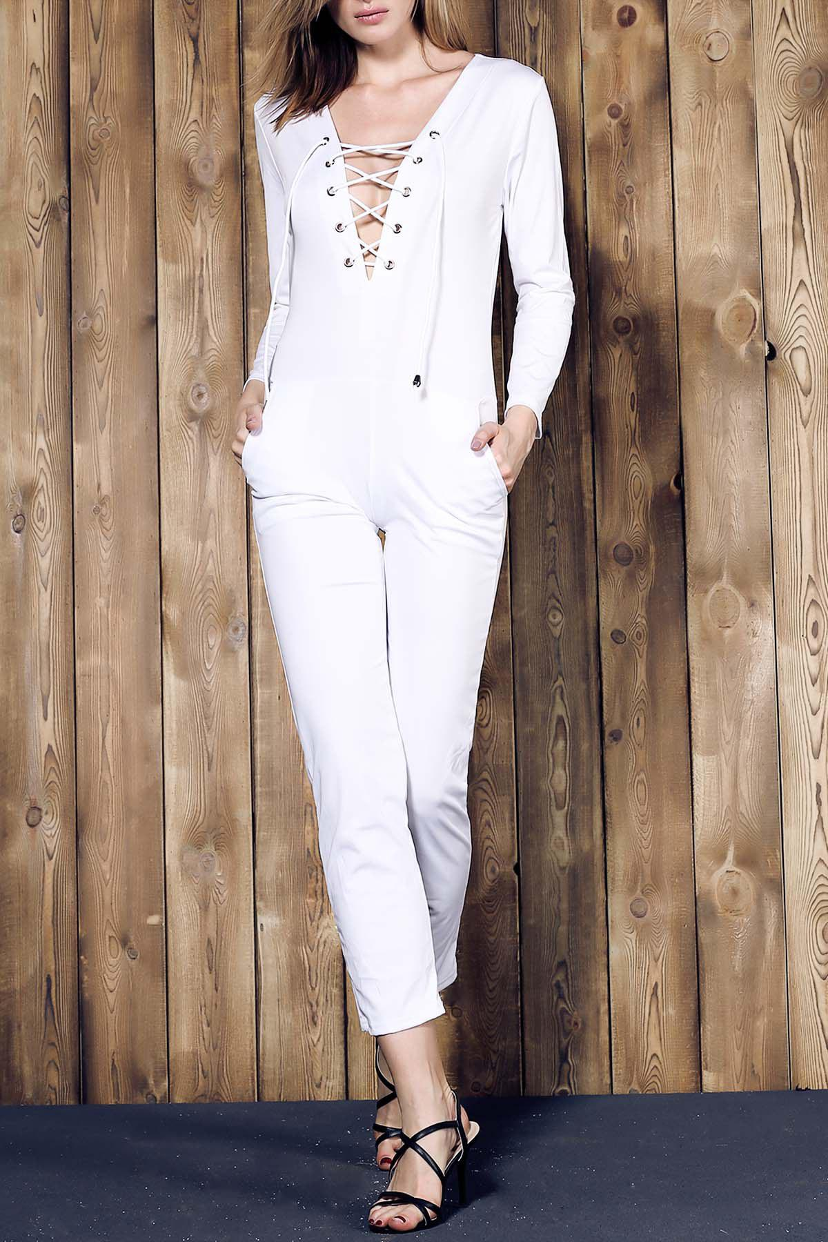 Simple Long Sleeve Lace-Up Pure Color Women's Jumpsuit - WHITE S