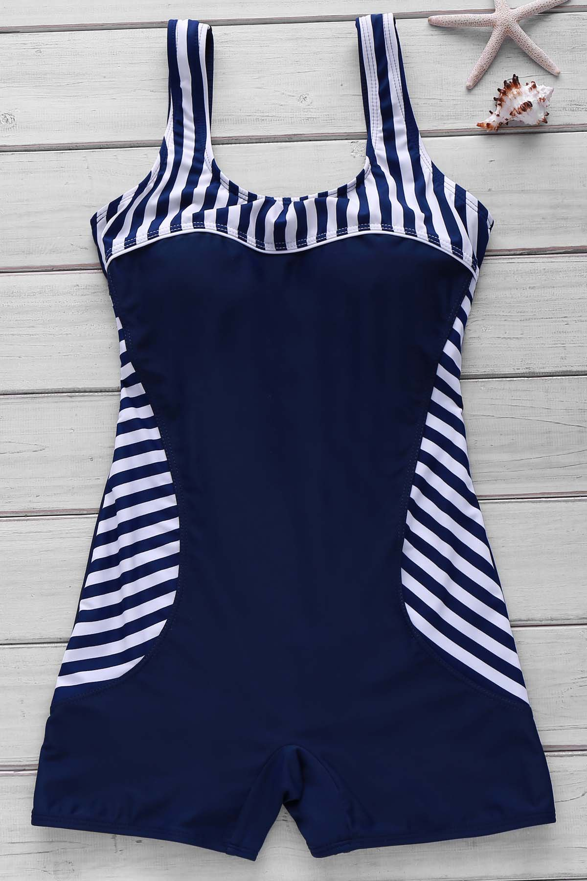 Active Style U Neck Striped Backless One-Piece Women's Swimsuit - PURPLISH BLUE M