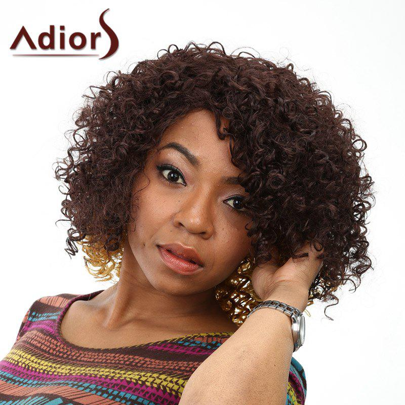 Fluffy Afro Curly Synthetic Trendy Medium Deep Brown Ombre Wig For Women
