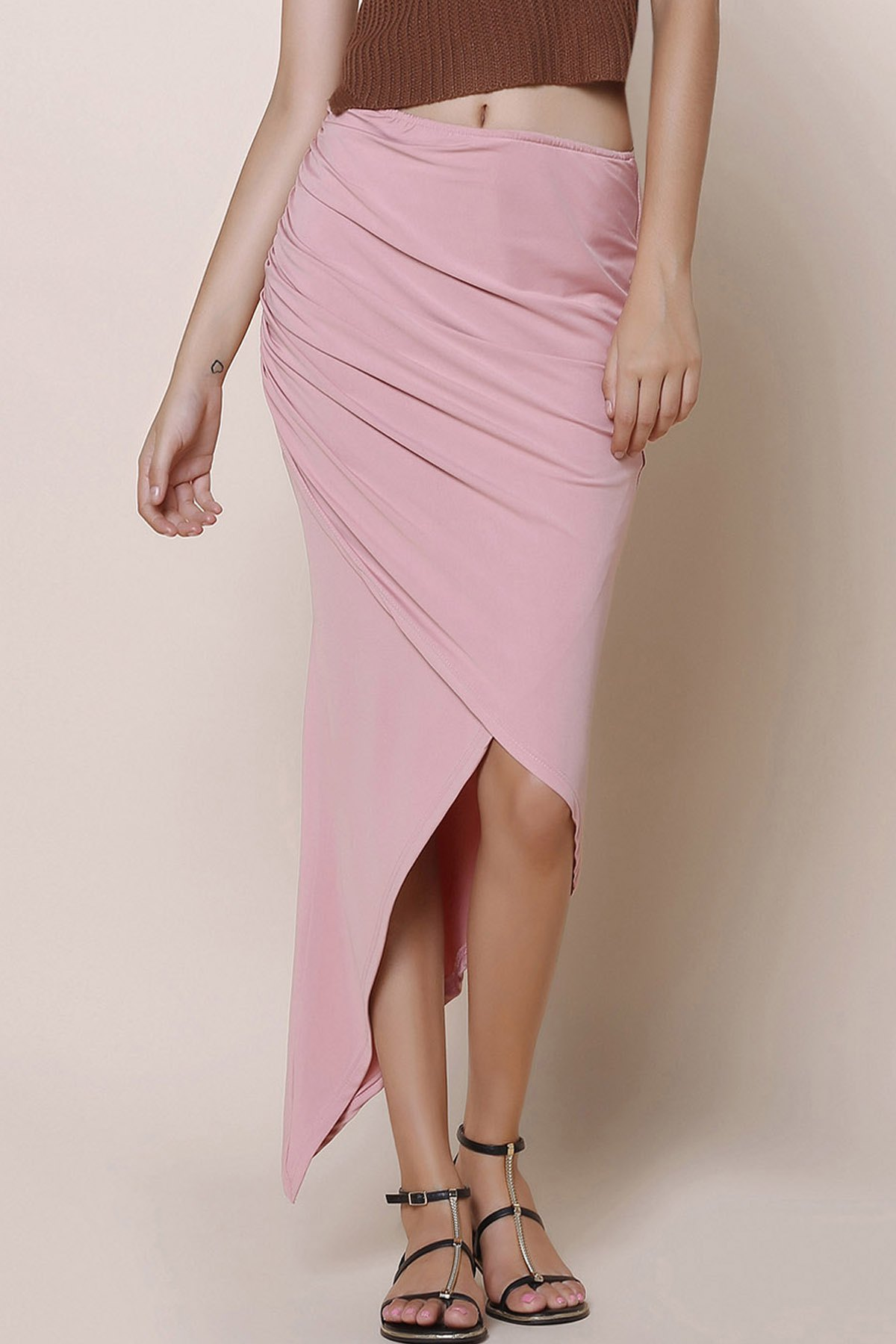 Fashionable Solid Color Asymmetric Women's Skirt - PINK ONE SIZE(FIT SIZE XS TO M)
