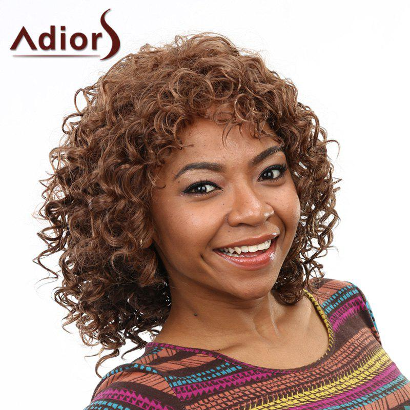 Stunning Short Capless Fluffy Curly Brown Mixed Women's Synthetic Wig