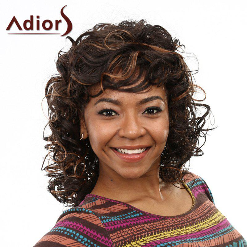 Trendy Medium Side Bang Capless Fluffy Curly Black Mixed Brown Womens Synthetic WigHair<br><br><br>Color: COLORMIX