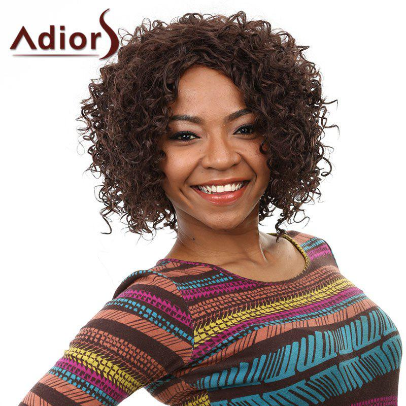 Trendy Short Dark Brown Shaggy Afro Curly Heat Resistant Fiber Women's Wig