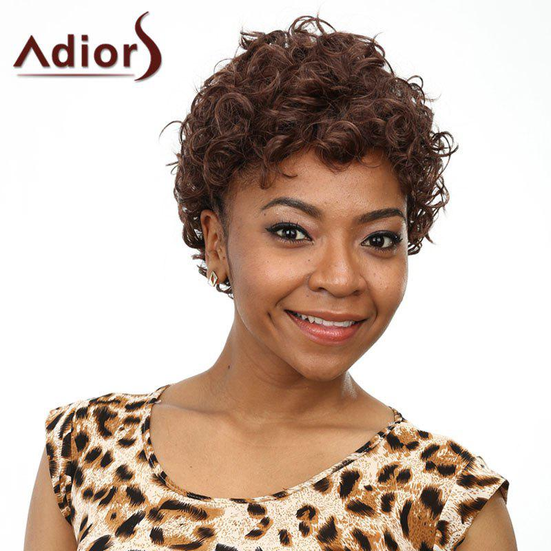 Fashion Short Dark Brown Heat Resistant Fiber Towheaded Afro Curly Wig For Women